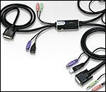ATEN CS52D :: Hybrid DVI KVM превключвател, 2x 1, PS2 & USB, Audio