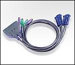 ATEN CS62 :: KVM превключвател, 2х 1, автом., PS2, включени кабели