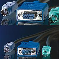 ROLINE 11.01.5455 :: KVM кабел, 1x HD15 M/F, 2x PS2, M/M, 3.0 м