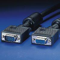 ROLINE 11.04.5360 :: VGA кабел HD15 M/F, 10.0 м с феритни накрайници, удължителен, Quality