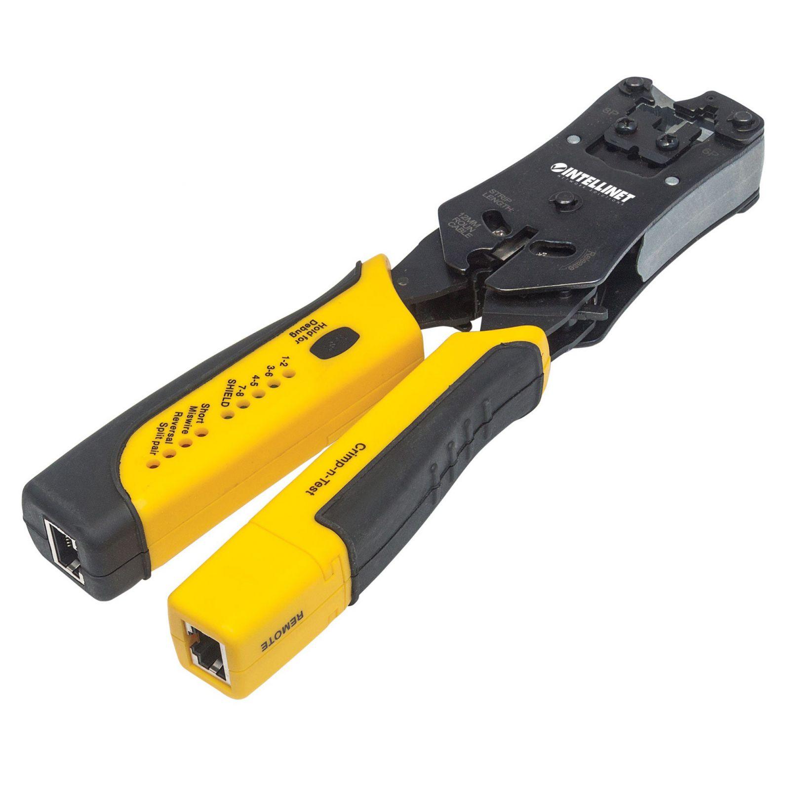 INTELLINET 780124 :: Универсални клещи за кримпване с вграден тестер RJ-45/12/11/22