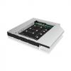 RAIDSONIC IB-AC650 :: Монтажен адаптор за mSATA или M.2 SSD в DVD гнездо на лаптоп, за 12.5 мм