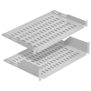"""MIRSAN MR.RAK1U25.01 :: 19"""" рафт за сървърен шкаф - 486 x 250 x 44 мм, D=250 мм, вентилиран, 2-точков монтаж, 30 кг товар, черен"""